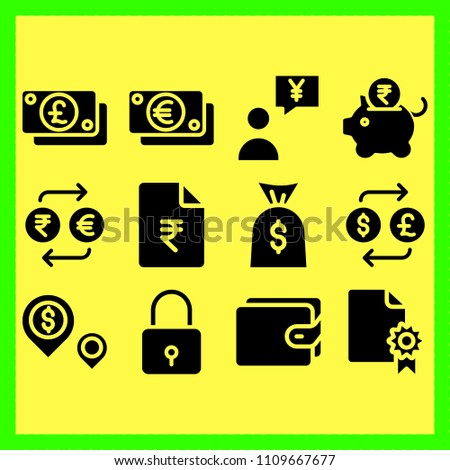 business icons set of debt, change and deposit #1109667677