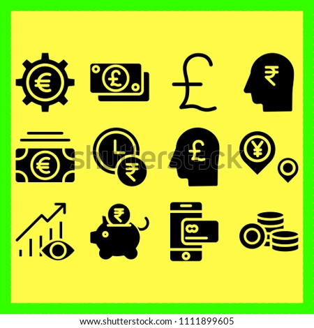 business icons set of young, note and social #1111899605
