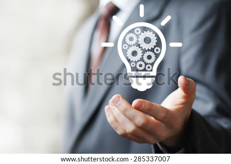 Business idea bulb gear web engineering button icon