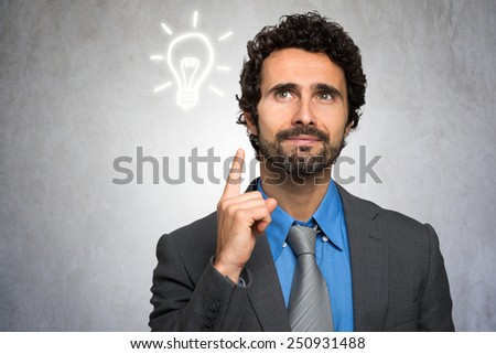 Business Idea concept: businessman having a good idea