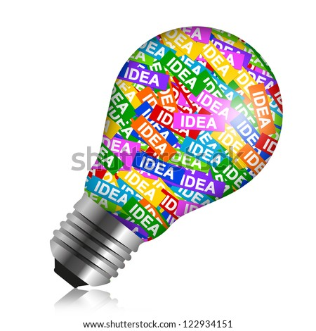 Business Idea Concept Present By Colorful Idea Label in Light Bulb Isolated On White Background