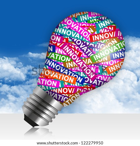 Business Idea Concept Present By Colorful Innovation Label in Light Bulb in Blue Sky Background
