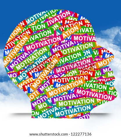Business Idea Concept Present By Colorful Motivation Label in Head in Blue Sky Background
