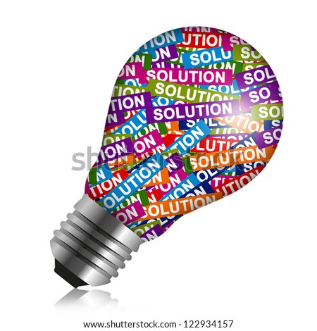 Business Idea Concept Present By Colorful Solution Label in Light Bulb Isolated On White Background