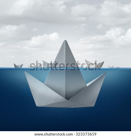 Business ignorance and fear concept as a group of paper boats floating around the tip of a giant origami sail boat as an ice berg shape as a metaphor for hidden competition and corporate deception.