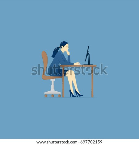 Business illustration of business woman character sitting in an office chair and working on computer. Business concept for banners, infographics or landing pages of website