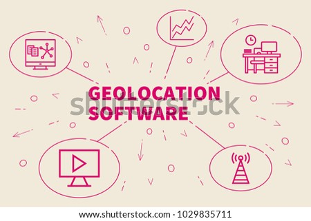 Business illustration showing the concept of geolocation software
