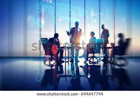 Business Illustration. Working group in the office.