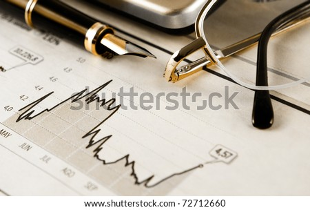 business image of objects and banking statistics