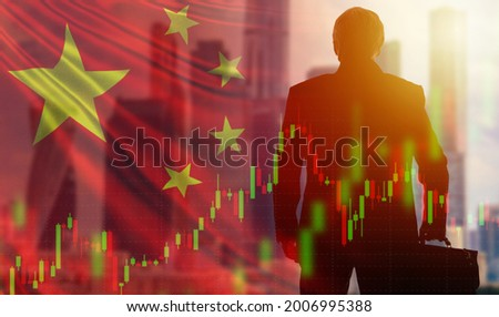 Business in China. China's economy. Business relations with PRC. Collage with a businessman and the flag of the People Republic of China. Chinese market. Economic growth. Economic indicators.