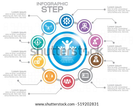 Business Infographic Template. Data Visualization. Can be used for workflow layout, number of options, steps, diagram, graph, presentation, chart and web design. Vector illustration. #519202831