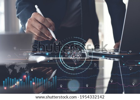 Business Intelligence (Bi), Artificial Intelligence (Ai), Digital marketing, business strategy, technology concept. Businessman using digital tablet, laptop computer with data and technology icons