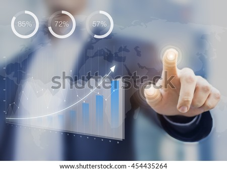 Business intelligence dashboard with key performance indicators on a computer interface, financial consultant touching the screen