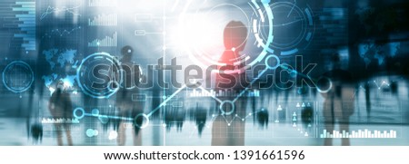 Business interface mixed media double exposure financial chart graph diagram and icon on virtual screen. Innovation concept #1391661596