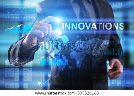 Business, Internet and technology concept.  Businessman select Innovations.