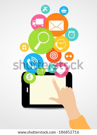Business Internet on  Different Electronic Devices Concept.  Illustration