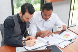 Business Investment Advisory TEAM Analyzes the company's annual financial statements.Balance sheets work with graph Papers.The concept of internal AUDIT, tax audit,Return on investment Analysis