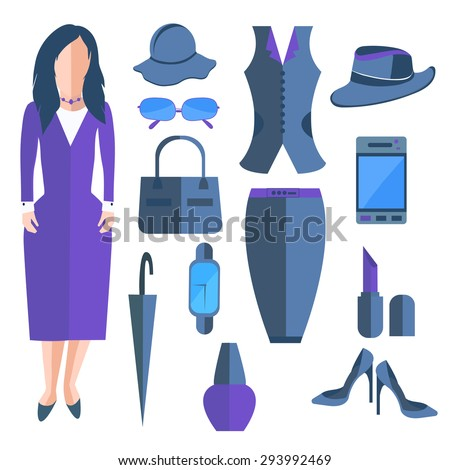 Business isolated woman dressed in a stylish office dress. Set of women\'s clothing and accessories into a flat style. Stylish outfits that can be edited to suit your design.  illustration
