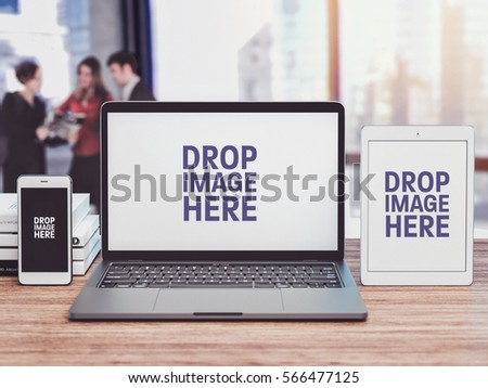 Business IT mockup, notebook mockup, A meeting of the employee. #566477125