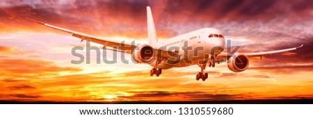 business jet airplane with gear down landing on dramatic sunset sky background corporate air travel commercial airline modern passenger plane aerial front view landscape banner panorama size photo