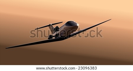 business-jet at sunrise. Vector version illustration see in my portfolio.