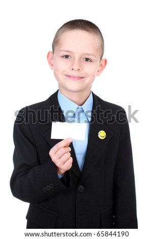 business kid presenting card on white background - kids - stock photo