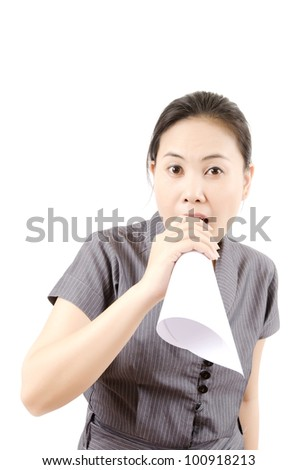 Business lady Shouted with white paper.Selective focus on lady face.