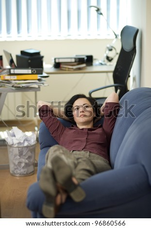 Business lady taking a rest
