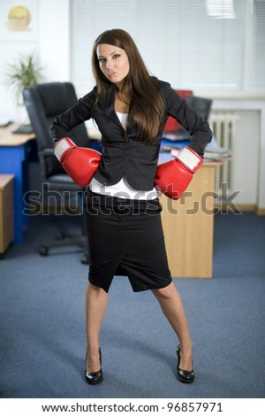 business lady with boxing gloves