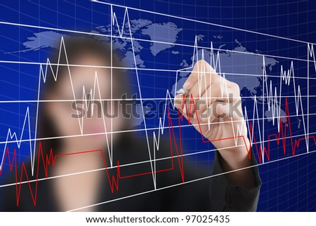 Business lady write finance graph for trade stock market on the whiteboard.