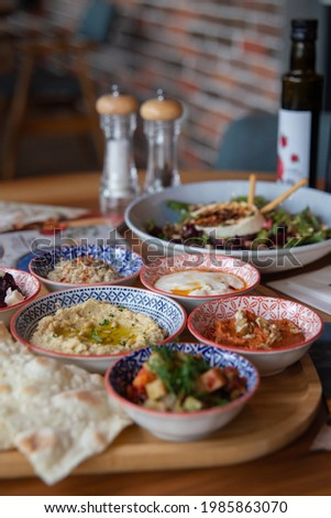business lanch in a Turkish restaurant with appetizing dishes Stock photo ©