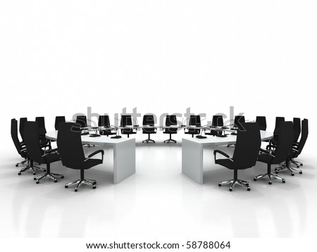 Business large meeting. Conference table and chairs with microphones isolated on white background
