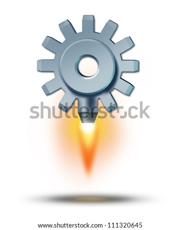 Business launch and starting a financial venture as a gear or cog taking off as a rocket attached to it blasting upward as a symbol of success and sky is the limit icon on a white background.