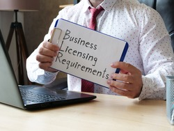 Business licensing requirements is shown on the conceptual business photo