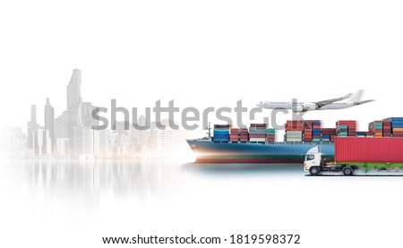 Business logistics and transportation concept of containers cargo freight ship, cargo plane, container truck, logistic import export and transport industry background