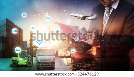 Business Logistics concept, Global business connection technology interface global partner connection of Container Cargo freight ship for Logistic Import Export background, internet of things