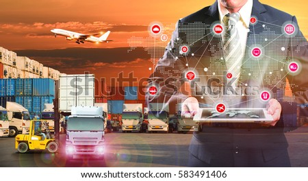 Business Logistics concept, Global business connection technology interface global partner connection of Container Cargo freight ship for Logistic Import Export background, internet of things #583491406