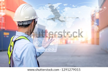 Business Logistics concept global partner connection of Container Cargo freight ship for Logistic Import Export background #1291279015