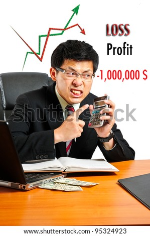 Business looking his loss profit.