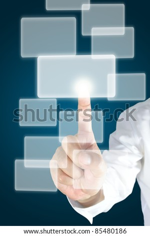 Business male hand push flying transparent button - stock photo