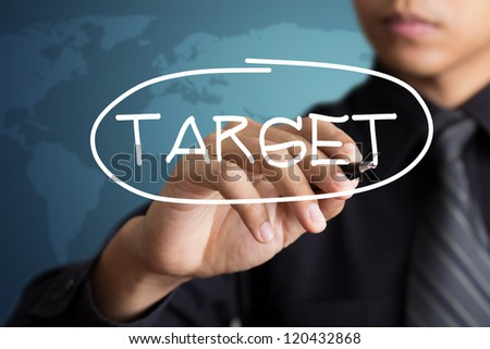 business man access the target