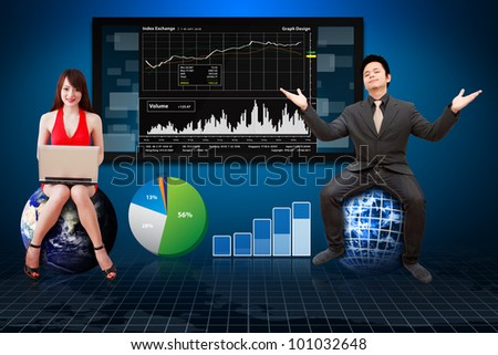 Business man ad woman reporting the graph : Elements of this image furnished by NASA