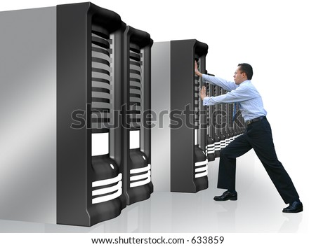 business man adding a server to his network