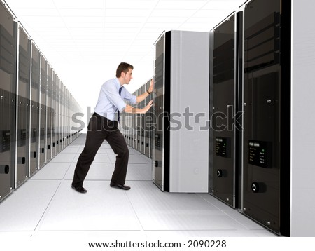 Business man adding server to network in a server room - 3d rendered servers high detail