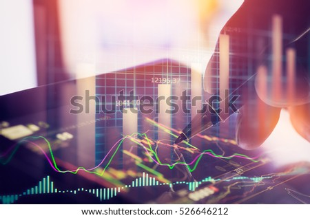 Business man analysis forex finance currency data on stock trade graph. Forex trade on business currency market. Stock and forex education concept. Stock market finance trade and business background.