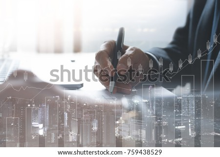 Business man analysis on digital stock market financial background. Stock market financial analysis on virtual screen led with cityscape double exposure, stock market financial concept #759438529