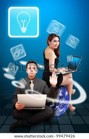 Business man and beautiful lady got idea : Elements of this image furnished by NASA - stock photo