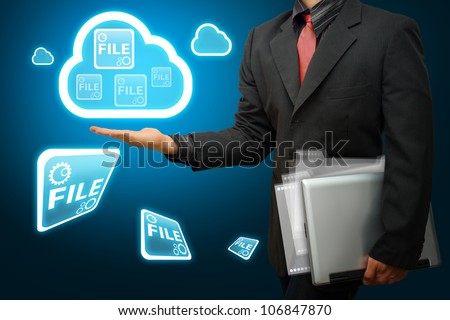 Business man and Cloud computing concept