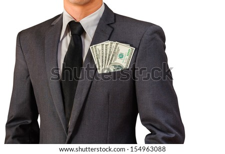 business man and dollar bill on isolated white