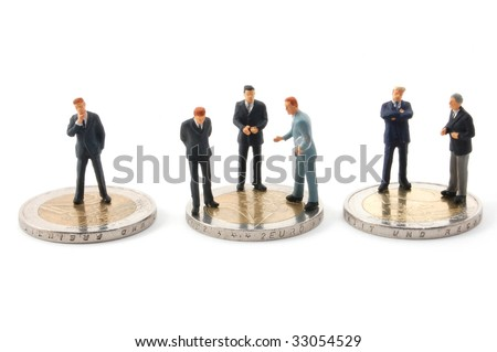 business man and euro money isolated on white background